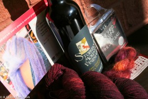 The package I sent for a wine & yarn swap, which included Storybook Mountain Winery Zinfandel and Neighborhood Fiber Company yarn