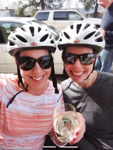 My friend and me on a cycling break drinking Frog's Leap Sauvignon Blanc outside Oakville Grocery on Yount Mill Road