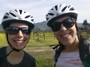 My friend and me on the back roads through the vineyards at the start of our bicycle wine tasting tour