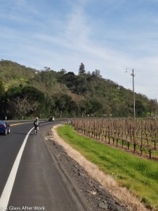 My friend riding along the Silverado Trail leaving Mumm Napa