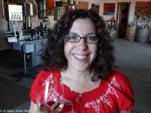 Me tasting the 2011 Estate Chardonnay at O'Brien Estate Winery in Napa
