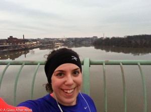 Running across the Key Bridge with Georgetown and the Washington Monument in the Background