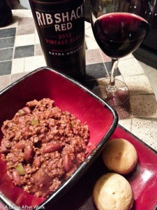 The 2012 Rib Shack Red and Hubby's chili...the perfect Superbowl wine pairing