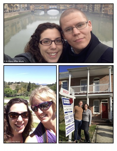 Hubby & me at the Ponte Vecchio in Florence; Me and Andrea from Of Vines & Velos at Bridlewood Estate Winery; and Hubby and me in front of our new home.