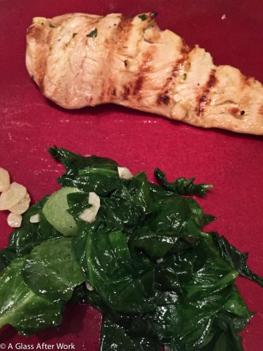 Southwest marinated chicken and garlic sauteed spinach
