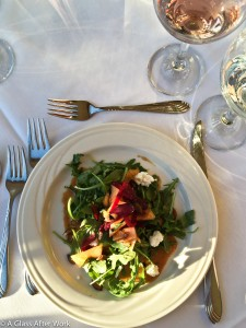 Candy Beet Melon-Arugula Salad with Red Jacket Cheribundi-Curry Vinaigrette, Stony Brook Pumpkin Oil and Seeds, and First Light Goat Cheese paired with a 2014 Three Brothers Winery & Estates Pinot Noir Rosé and Leidenfrost Vineyards Blanc de Blancs
