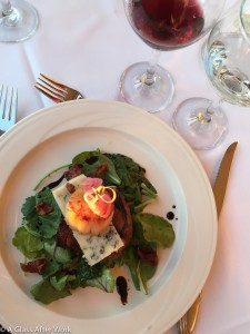 Grilled Petit Finger Lakes Farms Filet Mignon and Scallop with Wilted Baby Kale, Piggery Bacon Vinaigrette, Cayuga Blue, and Pickled Red Onion paired with Three Brothers Winery and Estates 0 Degree of Riesling and a 2011 Ventosa Vineyards Cabernet Franc