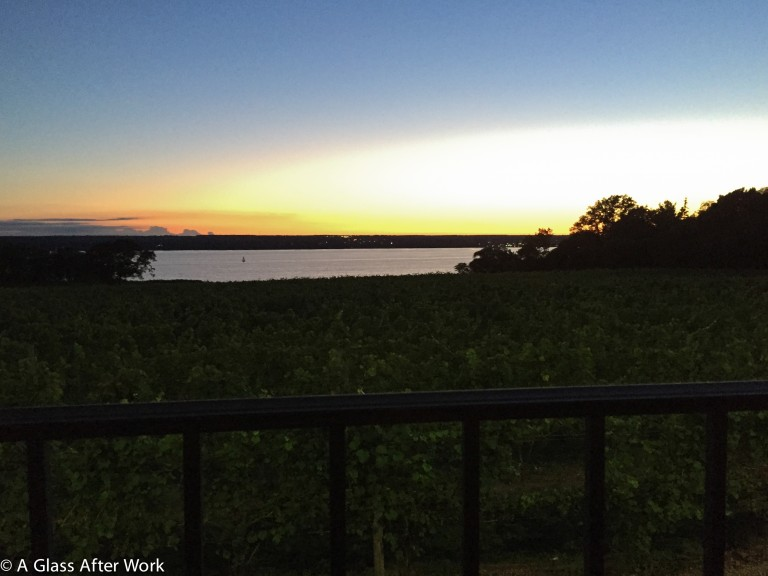 Sunset over Seneca Lake at Ventosa Vineyards