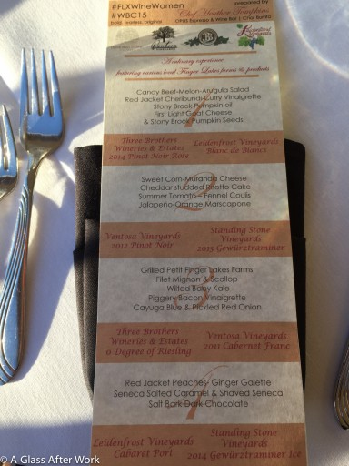 The FLX Wine Women Dinner Menu