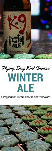 Flying Dog K-9 Cruiser Winter Ale & Peppermint Cream Cheese Spritz Cookies –The beer is an English Ale, also known as a Winter Warmer, and it's medium bodied with the taste of spices and nuts. The cookies were peppermint-y but not overwhelming with a nice, non-greasy texture. All in all, the pairing wasn't the best, but individually they were fun and wintery. Ratings = 3 out of 5 | AGlassAfterWork.com