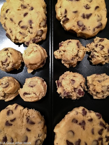 On the left is the gluten-free chocolate chip cookie dough and on the right is the regular dough.