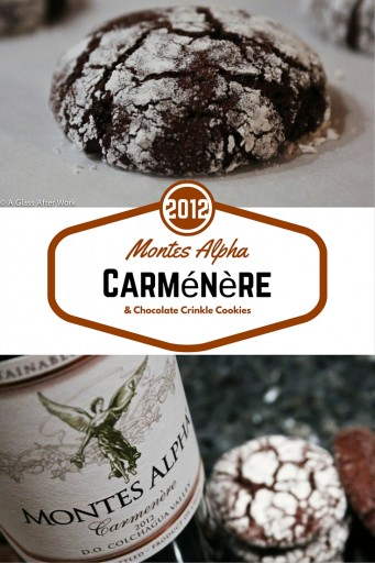 2012 Montes Alpha Carménère & Chocolate Crinkle Cookies – At $20 a bottle, this red wine from Chile is big, bold, and full of flavor. Plan on opening it for dinner and grabbing a second glass afterwards for a relaxing evening, whether it's a school night or not. Cheers! Rating 4 out 5| AGlassAfterWork.com