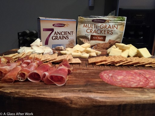 Snowzilla cheese, charcuterie, and Crunchmasters