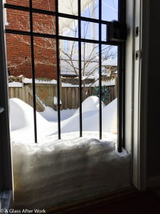 "The snow stopped, but 2ft piled up against our back door, which turned our back patio into a ""snowbox."""