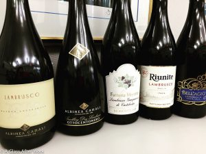 Lineup for 2016 Lambrusco Tasting