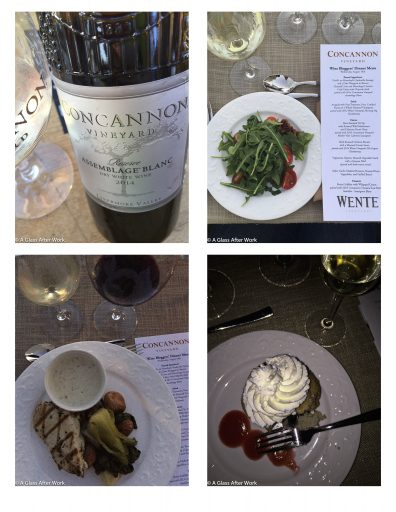Our dinner and the Concannon Vineyard Assemblage Blanc