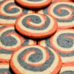 Red, white,and blue pinwheel icebox cookies