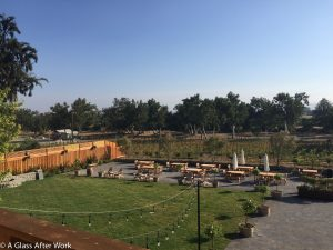 The view of Murrieta's Well and the picnic area fro the tasting room balcony