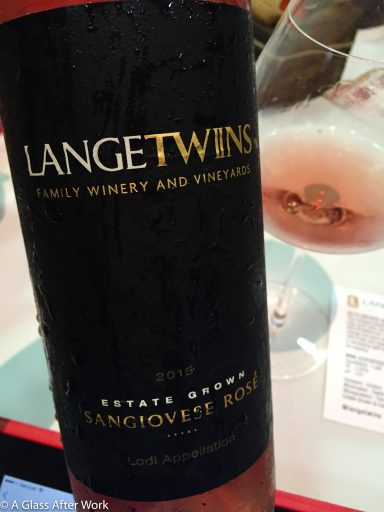 2015 LangeTwins Family Winery Sangiovese Rosé – At $13, this California rosé wine has a great quality/price ration.  It won't offer you anything unusual, but it's reliably tasty and very food friendly Rating: 3.5 out 5 | AGlassAfterWork.com