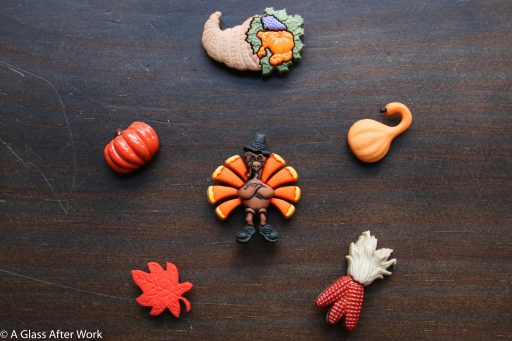 """Tom Turkey"" set of 6 Simply Charmed magnetic wine charms ($16)"