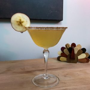 Alleigh's Apple Cider 75 – This cocktail is a fall variation of the classic French 75 cocktail, and I made it with Tanqueray Gin, apple cider, and sugar. Cheers! | AGlassAfterWork.com